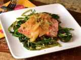 Apple Dijon Salmon wiht Roasted Broccoli Rabe