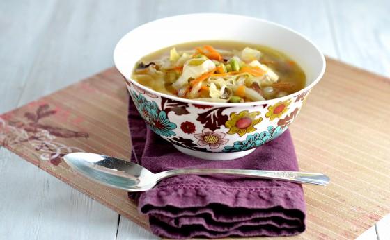 shiitake mushrooms, ginger, cabbage, tofu, soup, vegetarian, vegan, clean eating