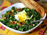 "Massaged Kale ""Cobb"" Salad with Crispy Eggplant ""Bacon"""