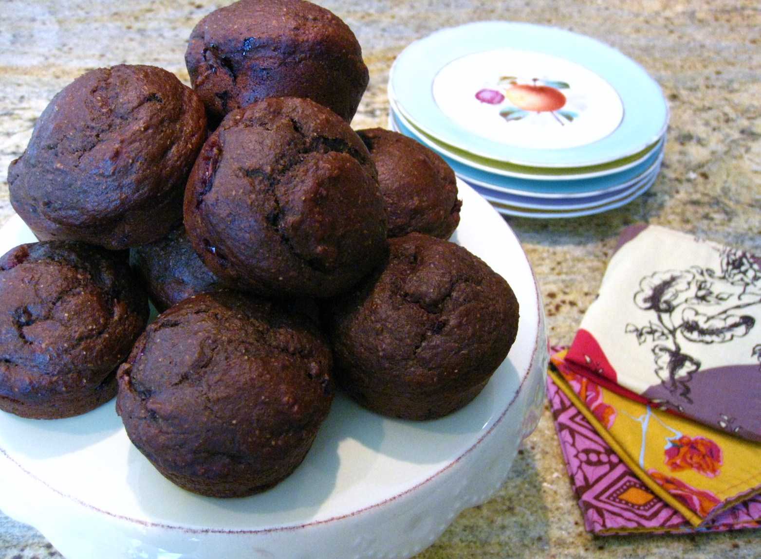 Cara's Cravings » Double Chocolate Cherry & Goat Cheese Muffins