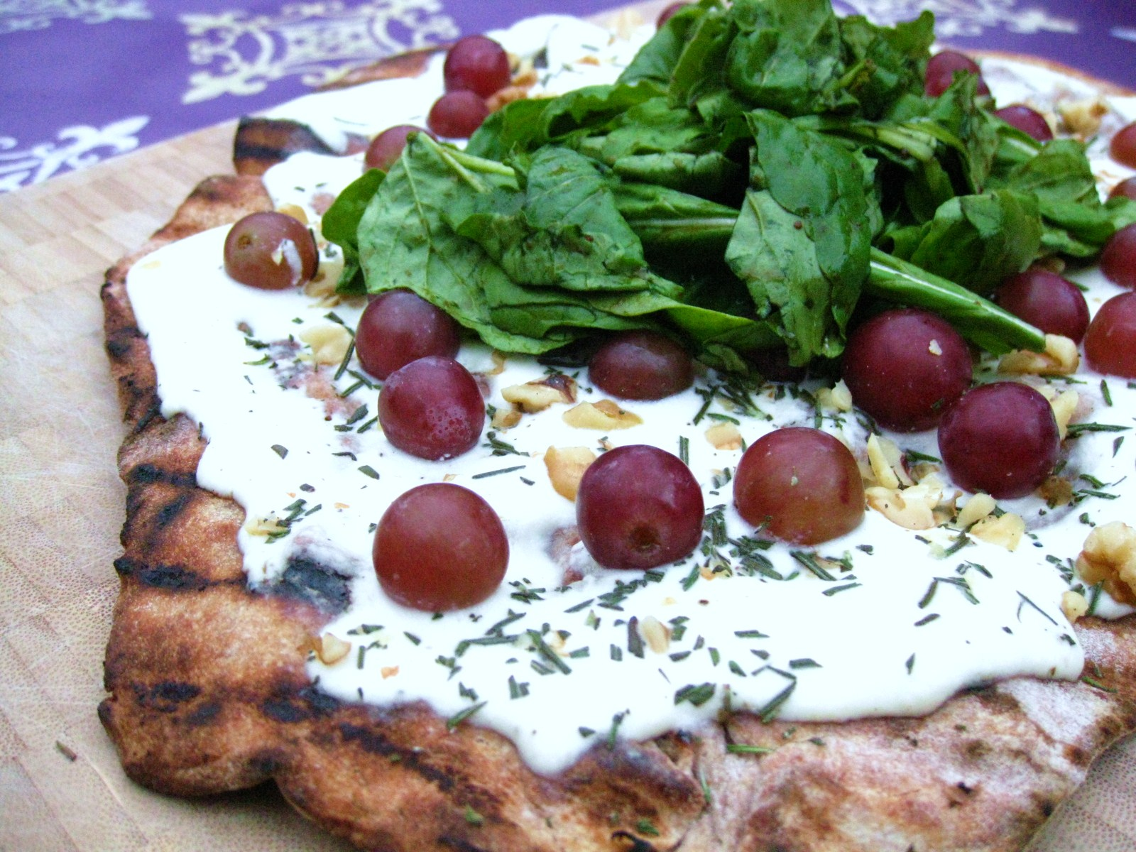 Red Grape and Ricotta Pizza with Honey & Arugula