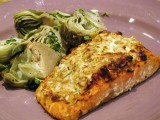 Herbed Goat Cheese and Pine Nut Crusted Salmon with Grilled Baby Artichokes