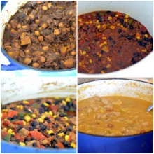 Clockwise from top left: my Moroccan Lamb Chili, Classic Beef Chili, Creamy Chicken & Apple Chili, Spicy Chicken Sausage  & Black Bean Chili