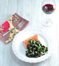Salmon with Kale, Cranberries and Tahini