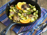 chicken thighs, brussels sprouts, gluten free chicken dish, one-dish meal