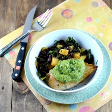 pineapple black beans, avocado tomatill sauce