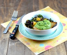 tomatillo avocado sauce, warm pineapple black beans, black beans with kale