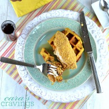 gluten free waffles, sweet potato waffles, chicken and waffles, cornflake chicken
