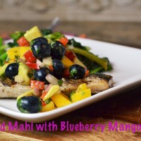 grilled mahi with blueberry mango salsa