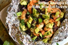 shrimp pineapple black bean foil packets