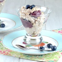 overnight oats, blueberry banana ice cream, no cook oats
