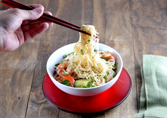 ... » Recipe for Peanut Sesame Kelp Noodles with Shrimp and Vegetables