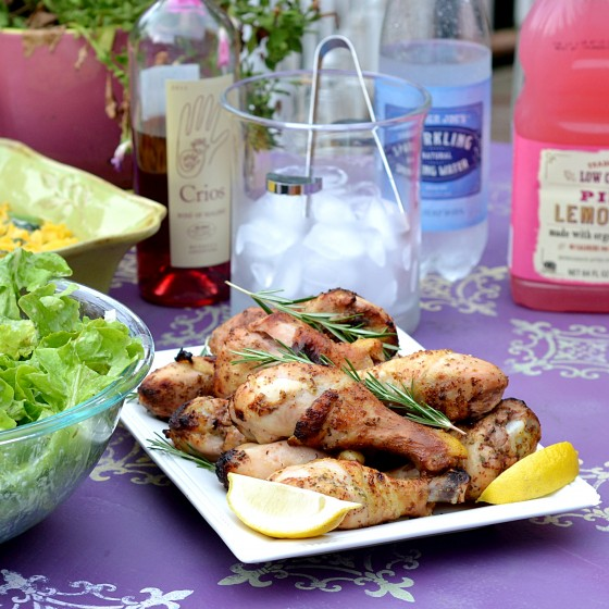 grilled chicken drumsticks, rosemary mustard chicken, rosemary mustard marinade, july 4th recipes, picnic recipes, gluten free july 4th, gluten free barbecue, gluten free picnic, dairy free picnic recipes, kosher chicken recipes,  healthy chicken recipes,  easy chicken recipes