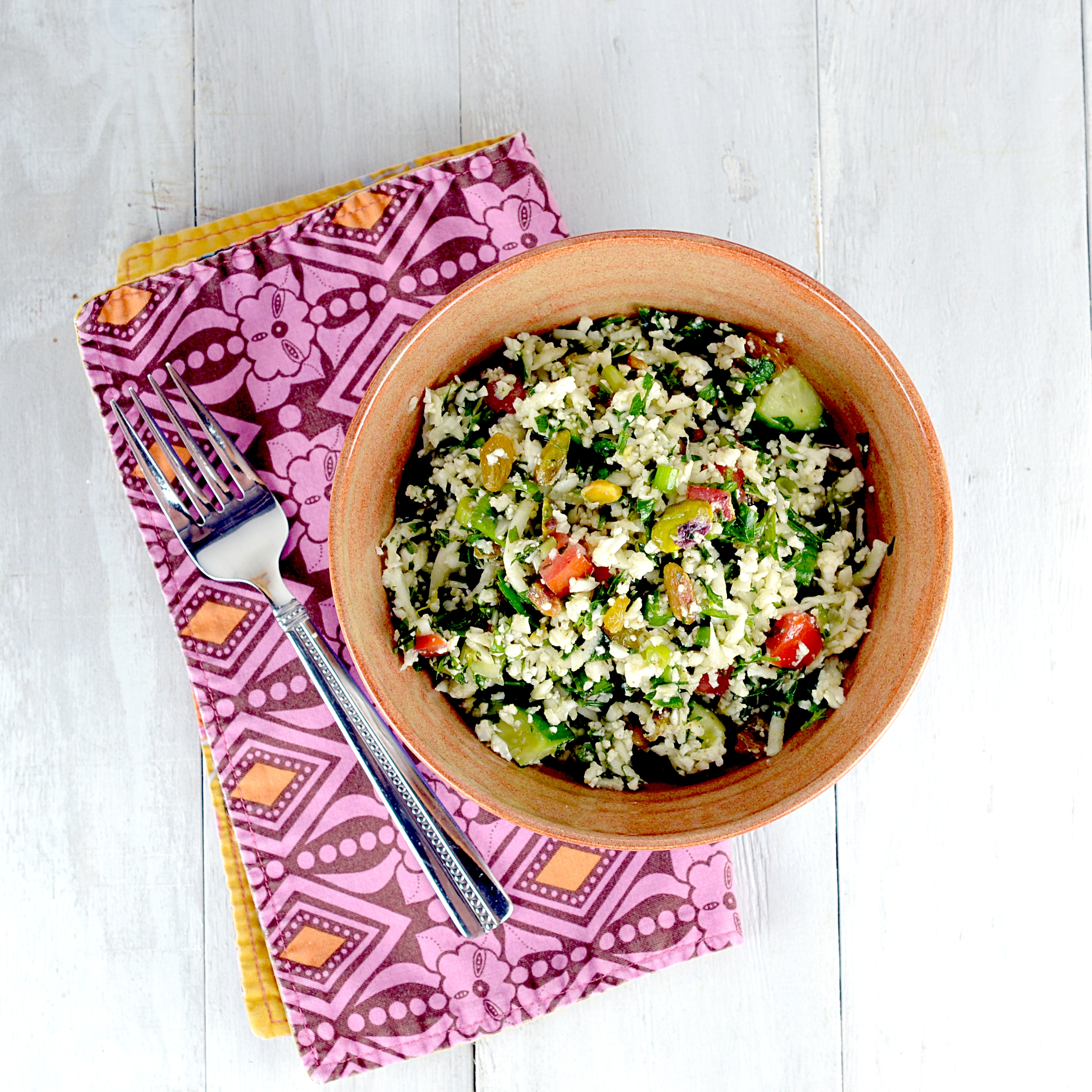 Cara's Cravings » Cauliflower Tabbouleh with Raisins & Pistachios