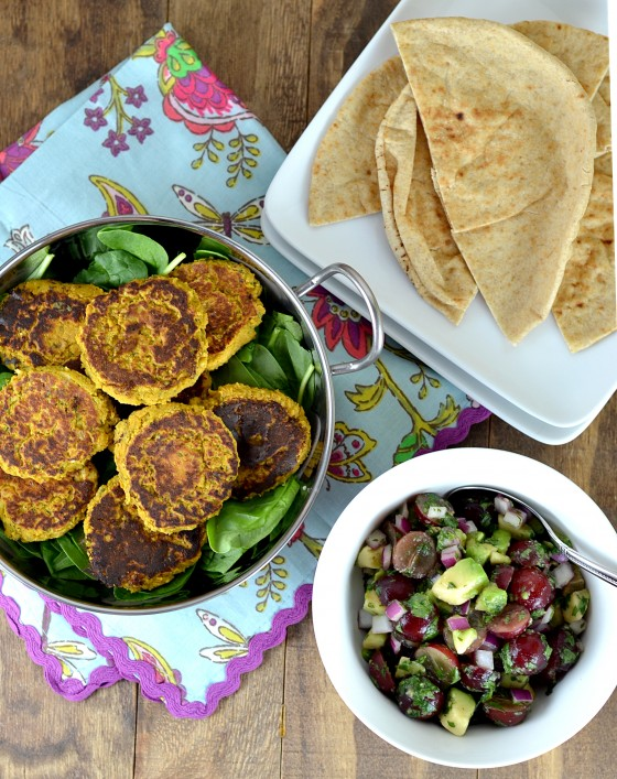 sweet potato falafel, butternut squash falafel, falafel recipe, chickpea patties, gluten free falafel, grape salsa, grape avocado recipes
