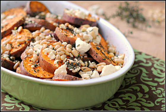 sweet potato feta, sweet potatoes pine nuts, gluten free sweet potato recipe, gluten free sweet potato casserole, healthy sweet potato side dish, healthy sweet potato recipe, preventionrd blog, nicole morissey blog, williams sonoma sweet potato