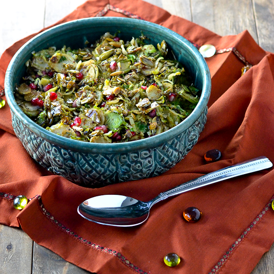 brussels sprouts recipes, brussels sprouts pumpkin seeds, brussels sprouts pepitas, brussels sprouts pomegranate, gluten free thanksgiving sides, vegan thanksgiving sides, dairy free thanksgiving sides,